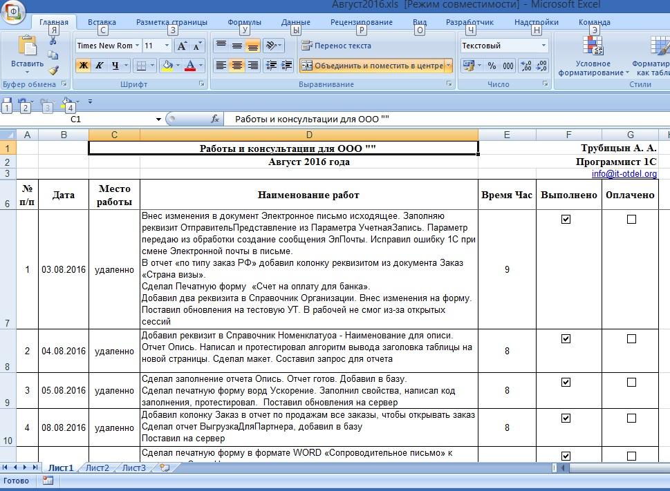 Пример отчета программиста 1С для организации